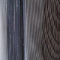 【紗紬】ダークカラー 縦縞文 夏紬 Y-2-12