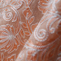 【ストール】カシミール刺繍 白×珊瑚色