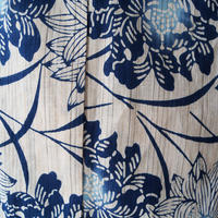 お取り置き中・【浴衣】トールサイズ ・生成り地 藍色の菊と牡丹文 浴衣