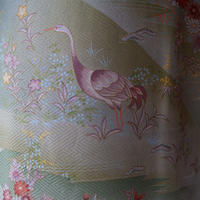 【袷】カーキとグレイ  花と鳥の風景柄小紋 5k16