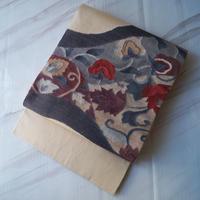 ☆【ふくろ帯】ベージュ地抽象柄 紬地ふくろ帯 5o24
