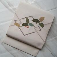 【なごや帯】白地 菱繋ぎ植物文 塩瀬なごや帯