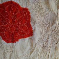 【帯揚げ】卵色×朱赤色 抽象花文 絞り セミアンティーク帯揚げ   絞り㋾