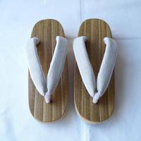 【下駄】胡麻竹 舟形台 オリジナル アイスグレー紬地花緒
