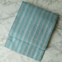 【なごや帯】濃淡浅葱色幾何学文浮き織りなごや帯