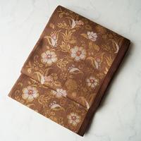 【ふくろ帯】薄茶色系 花唐草文 洒落ふくろ帯