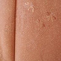 【袷】トールサイズ・薄柿色たたき染め汕頭刺繍附下