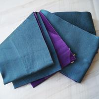 ☆【半幅帯】青碧色×葡萄色 リバーシブル 化繊半幅帯 3o60