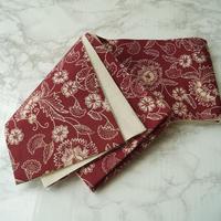 【半幅帯】淡臙脂色地 更紗文 ジャワ更紗  仕立ておろし半幅帯