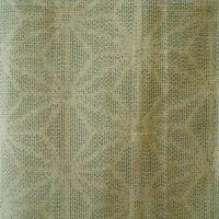 【袷】アイボリー色系麻の葉柄紬 5k11