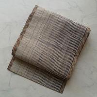 【なごや帯】白練×消炭色 縞暈かし 組織なごや帯