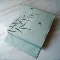 【なごや帯】錆青磁色地 蜻蛉文 絽なごや帯