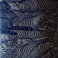 【浴衣】紺灰地菊と流水屋敷柄の浴衣