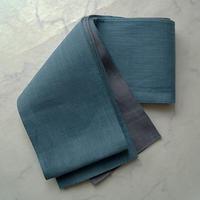 【半幅帯】紺鼠色×墨色 リバーシブル麻半幅帯