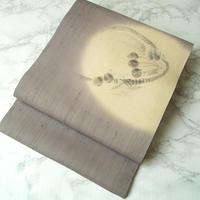 【夏なごや帯】藤色暈し 桜桃文 手描き 紗紬 名古屋帯