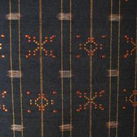 【袷】黒と橙の読谷村花織紬