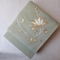 【夏なごや帯】ミントグリーン地 金駒刺繍 絽なごや帯
