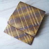 【ふくろ帯】紫茶×金糸などの格子文 ふくろ帯