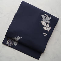 【なごや帯】濃藍色植物文なごや帯