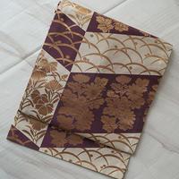 【なごや帯】矢羽根に秋草文 川島織物製なごや帯