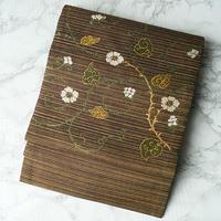 【なごや帯】茶系に金糸使い 花唐草文織りなごや帯