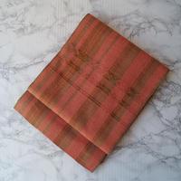 【ふくろ帯】ひなや工房謹製 桃色地に縞文織り洒落ふくろ帯