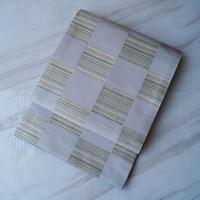 【ふくろ帯】白鼠(しろねず)色 市松文リバーシブルふくろ帯