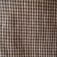 【夏・麻】焦げ茶色のギンガムチェックの小千谷縮