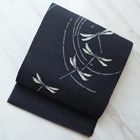 【夏なごや帯】黒地蜻蛉柄 紗なごや帯