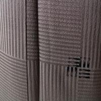 【袷】焦茶系 変わり市松地紋に刺繍文 小紋