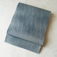 【夏ふくろ帯】藍鼠系 変わり菱文 羅ふくろ帯