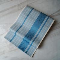 【なごや帯】生成り色×花浅葱色 縞文 博多織なごや帯