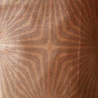 【袷】薄赤茶色に幾何学柄大島紬
