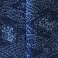 【浴衣】青紺地花々と流水文浴衣