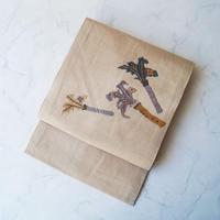 【なごや帯】生成り地 花器草花柄 玉縫い刺繍 紬地なごや帯