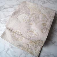 【ふくろ帯】白銀地松扇に四季花文袋帯