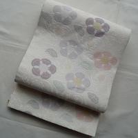 【夏ふくろ帯】白地に椿文唐織絽袋帯