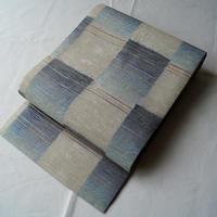 【なごや帯】生成り×ブルーグレー 紙布 名古屋帯
