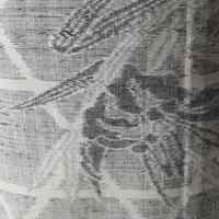 【単衣】モノトーンカラー 籠目に春の花文 紬