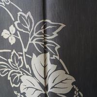 【袷】トールサイズ・墨色に葛の花 本場大島紬