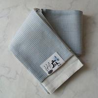 【半幅帯】水色×灰色×白色 織り柄 麻半幅帯