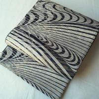 【ふくろ帯】モノトーン系 斜線曲線 グラフィカル文 洒落袋帯