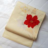 ☆【なごや帯】生成り地に赤白の花文 なごや帯 5o61