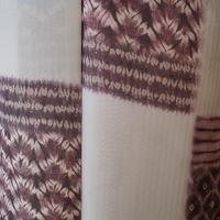 【袷】トールサイズ・白練色×暗紅色の段絞り文小紋