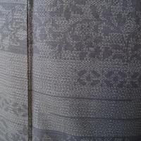 【袷】トールサイズ 灰みの青色系横段更紗文の紬