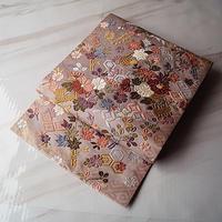 【なごや帯】梅鼠色地 花々に吉祥文 刺繍 なごや帯