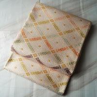 【ふくろ帯】河合美術織物謹製 クリーム色地 花菱文 ふくろ帯 お仕立て付 J-20