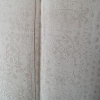 【袷】白橡系 鳥やアラベスク文様 紬