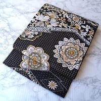 【ふくろ帯】黒地 華文 スワトー刺繍 袋帯 3o14