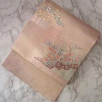 【夏・なごや帯】淡ピンク地秋草文紗なごや帯 5o8